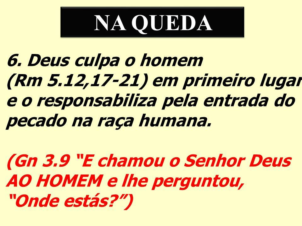 NA QUEDA 6. Deus culpa o homem. (Rm 5.12,17-21) em primeiro lugar. e o responsabiliza pela entrada do.