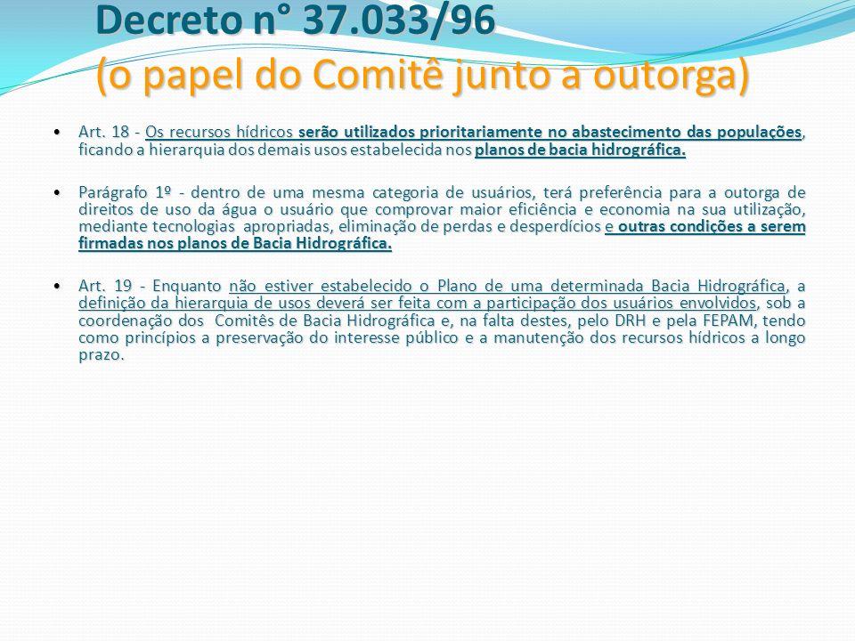 Decreto n° 37.033/96 (o papel do Comitê junto a outorga)