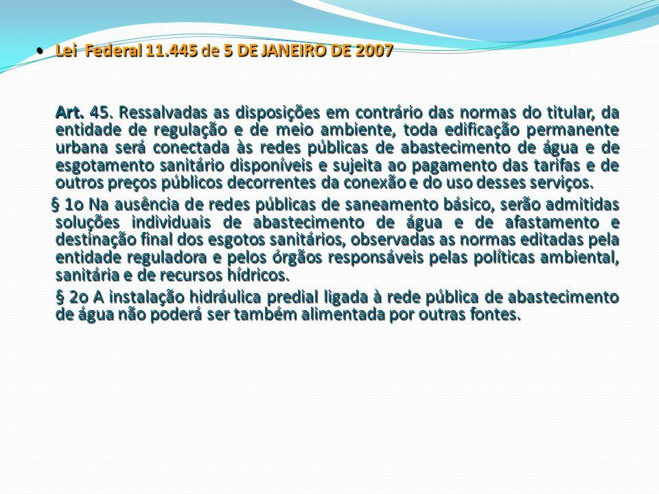 Lei Federal 11.445 de 5 DE JANEIRO DE 2007