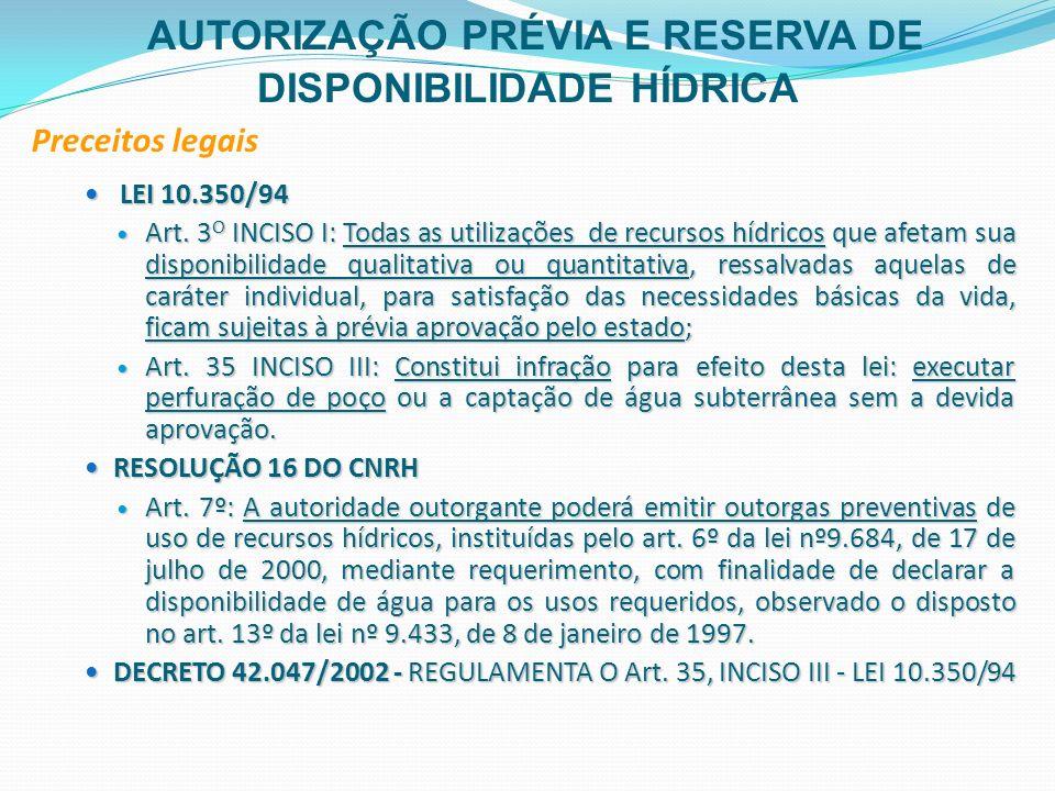 AUTORIZAÇÃO PRÉVIA E RESERVA DE DISPONIBILIDADE HÍDRICA