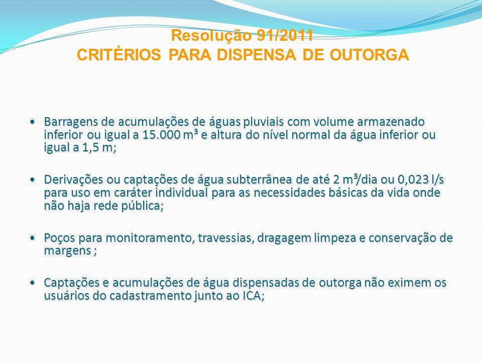 Resolução 91/2011 CRITÉRIOS PARA DISPENSA DE OUTORGA