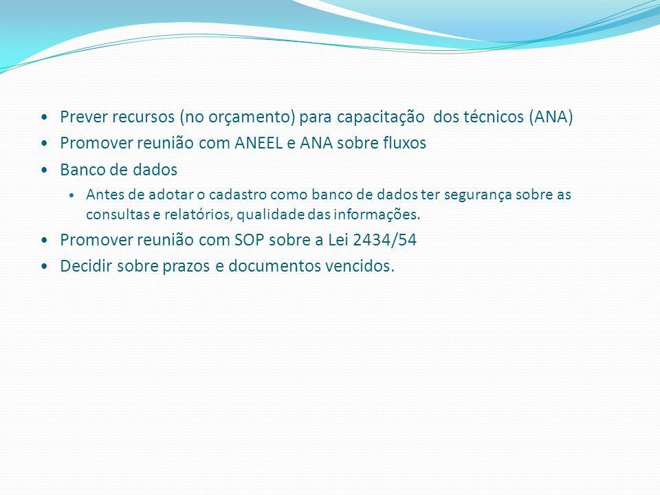 Prever recursos (no orçamento) para capacitação dos técnicos (ANA)