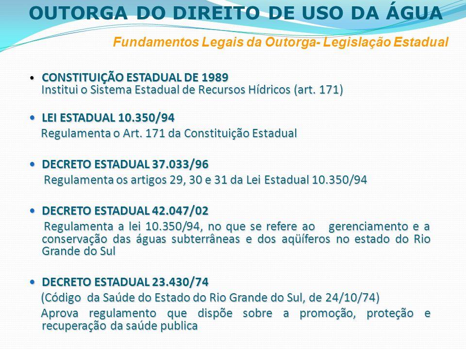 OUTORGA DO DIREITO DE USO DA ÁGUA