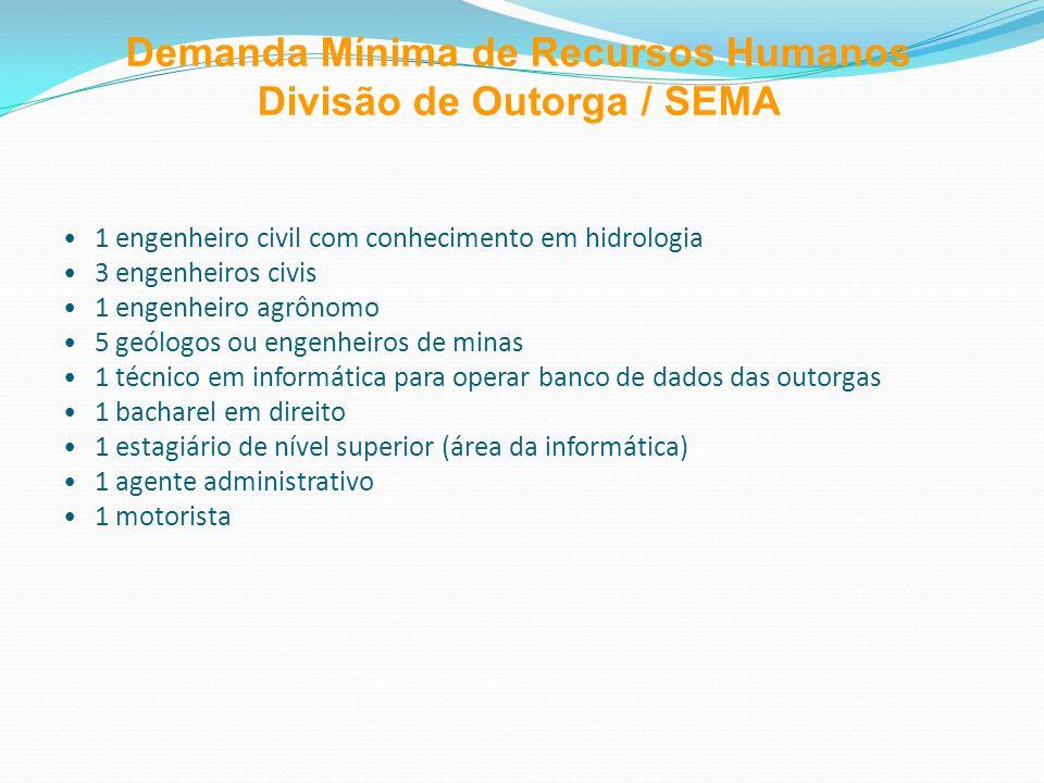 Demanda Mínima de Recursos Humanos Divisão de Outorga / SEMA