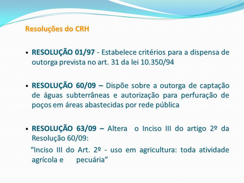 Resoluções do CRH RESOLUÇÃO 01/97 - Estabelece critérios para a dispensa de outorga prevista no art. 31 da lei 10.350/94.