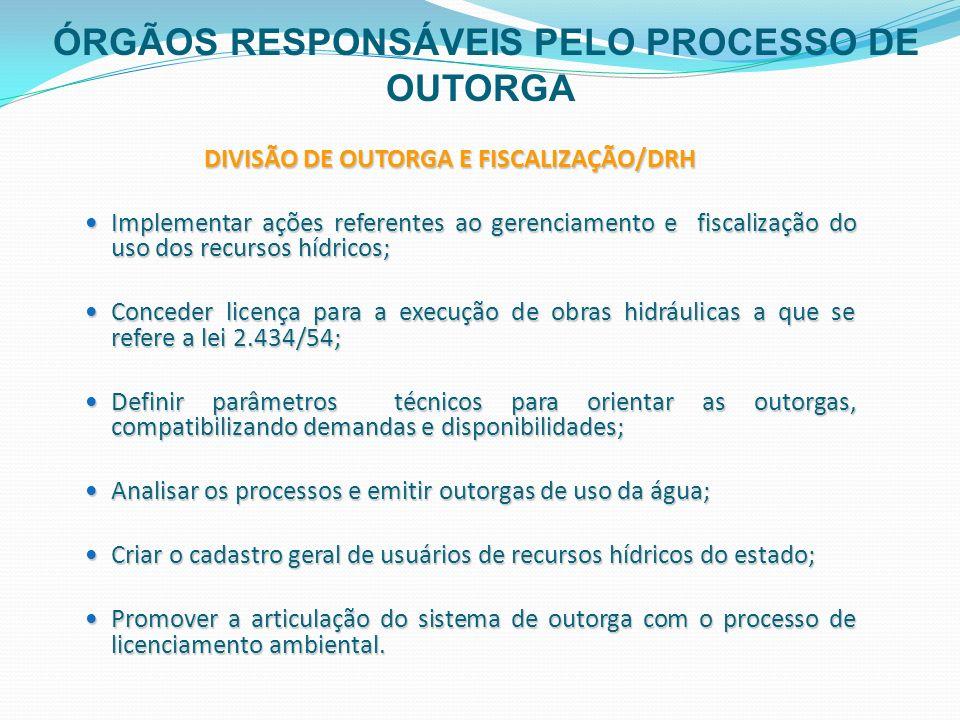 DIVISÃO DE OUTORGA E FISCALIZAÇÃO/DRH