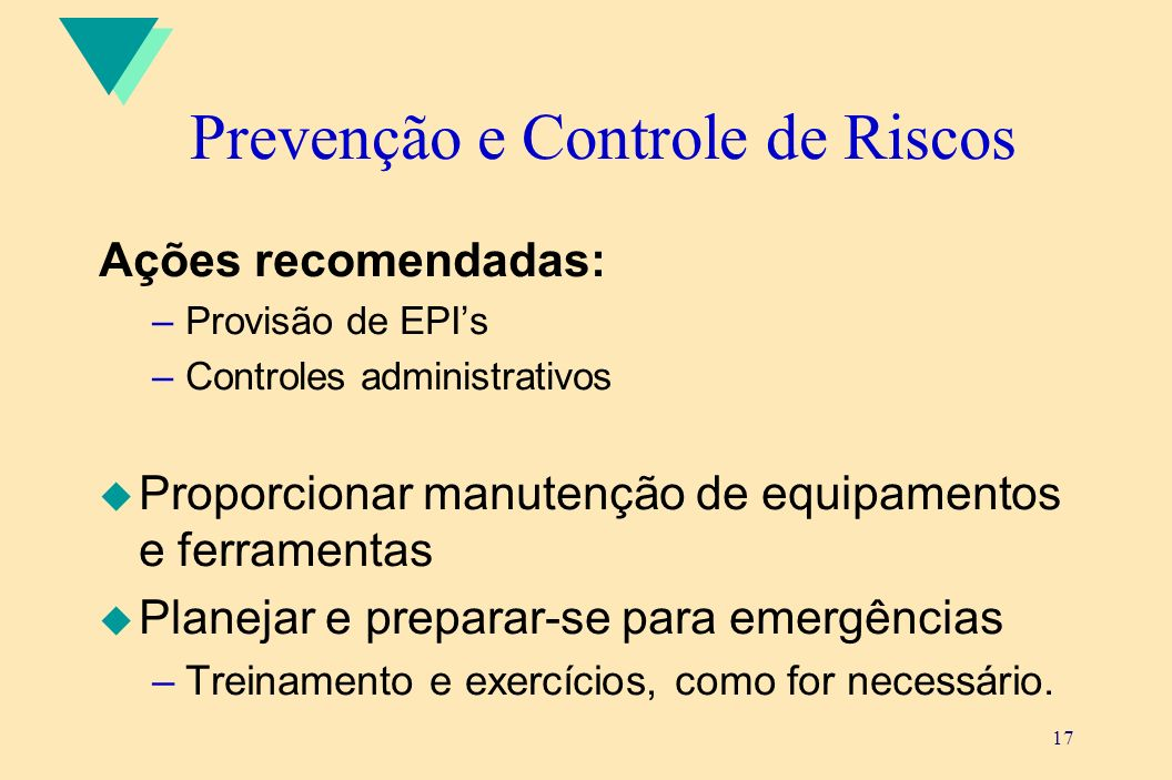 Prevenção e Controle de Riscos