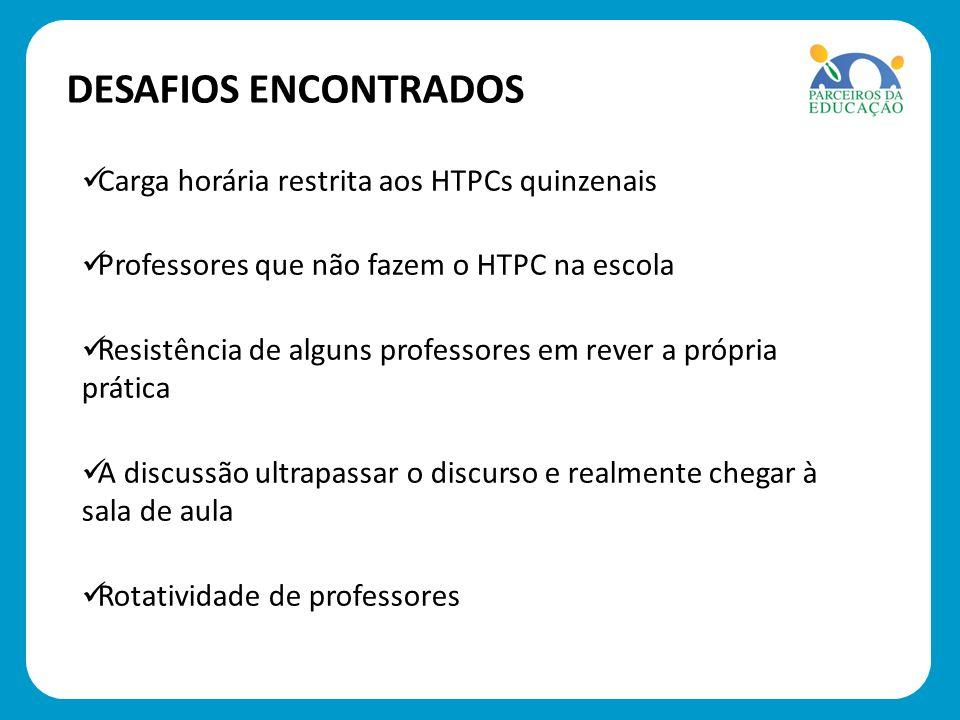 DESAFIOS ENCONTRADOS Carga horária restrita aos HTPCs quinzenais
