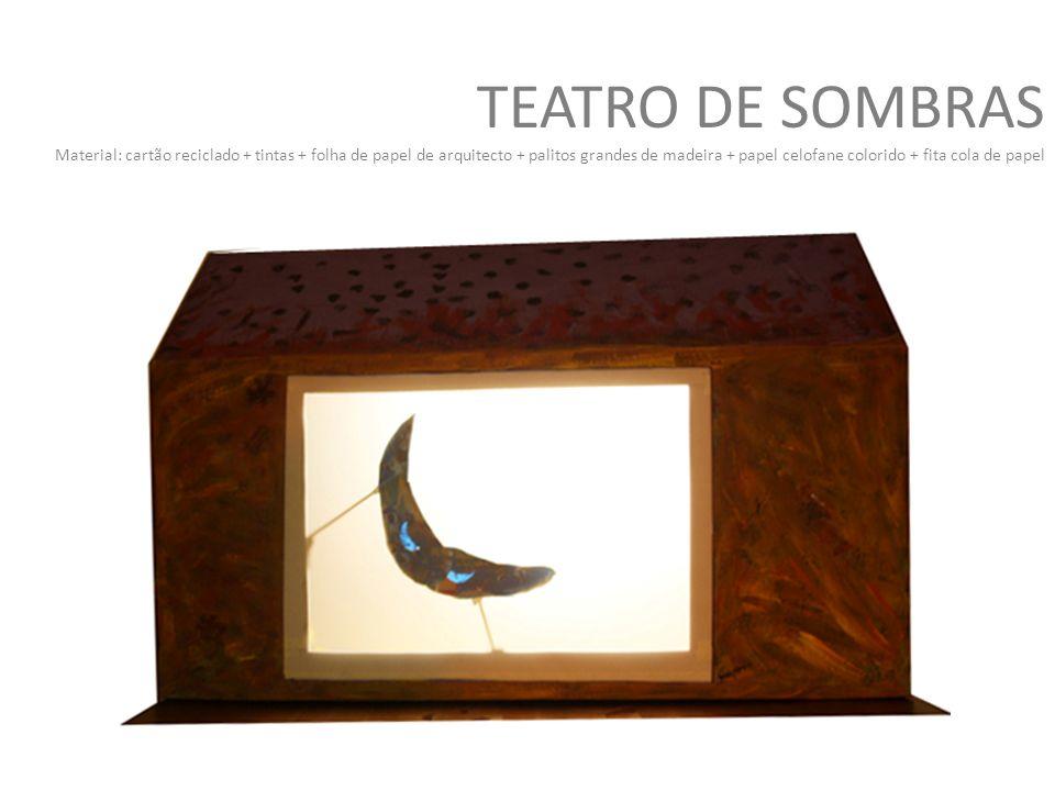 TEATRO DE SOMBRAS Material: cartão reciclado + tintas + folha de papel de arquitecto + palitos grandes de madeira + papel celofane colorido + fita cola de papel