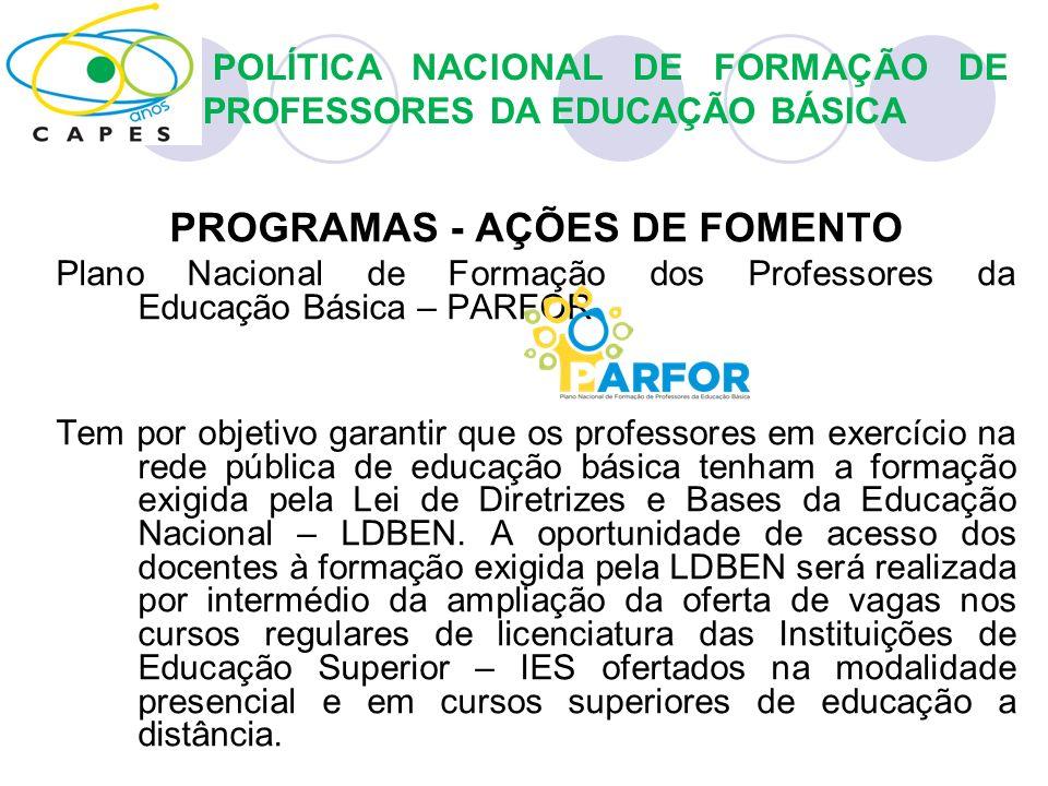 PROGRAMAS - AÇÕES DE FOMENTO