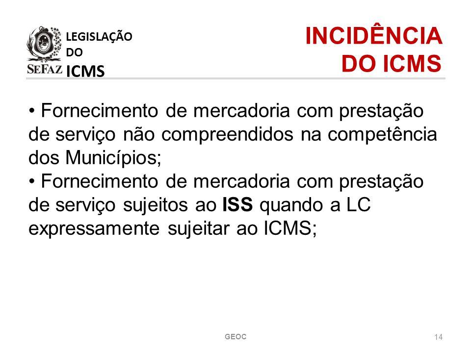 LEGISLAÇÃO DO ICMS INCIDÊNCIA DO ICMS