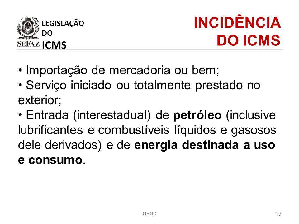 LEGISLAÇÃO DO ICMS INCIDÊNCIA DO ICMS Importação de mercadoria ou bem;