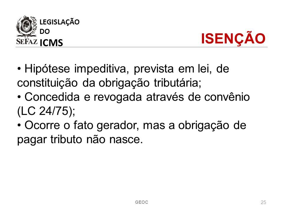 LEGISLAÇÃO DO ICMS ISENÇÃO