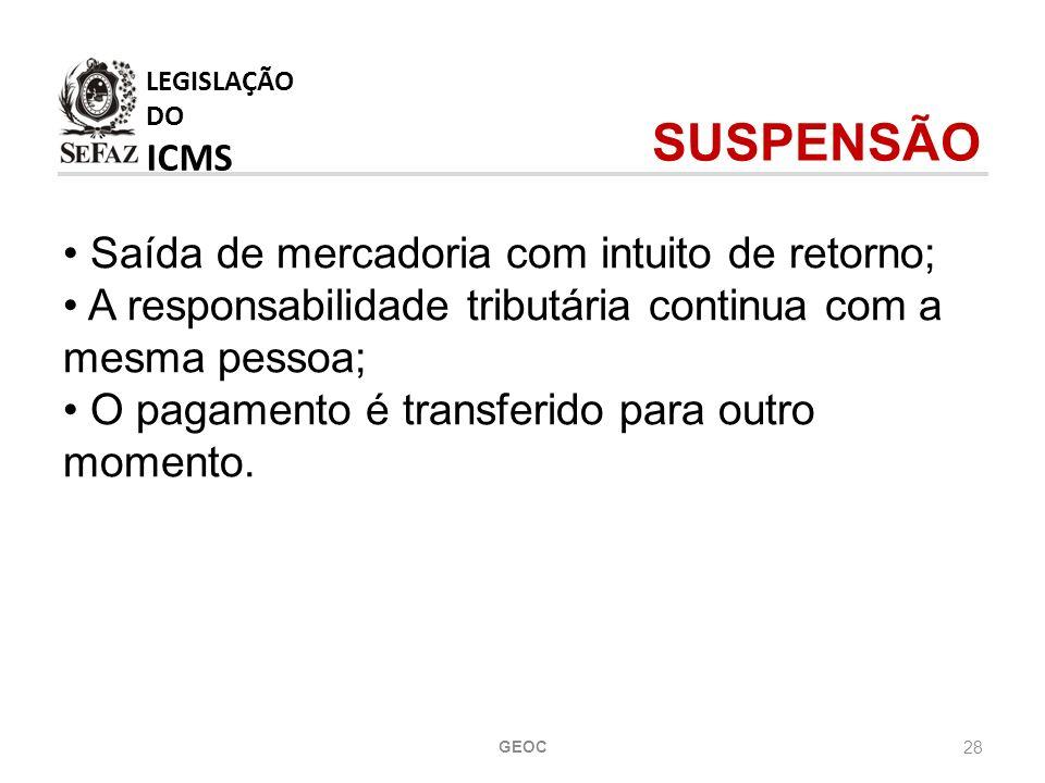 LEGISLAÇÃO DO ICMS SUSPENSÃO