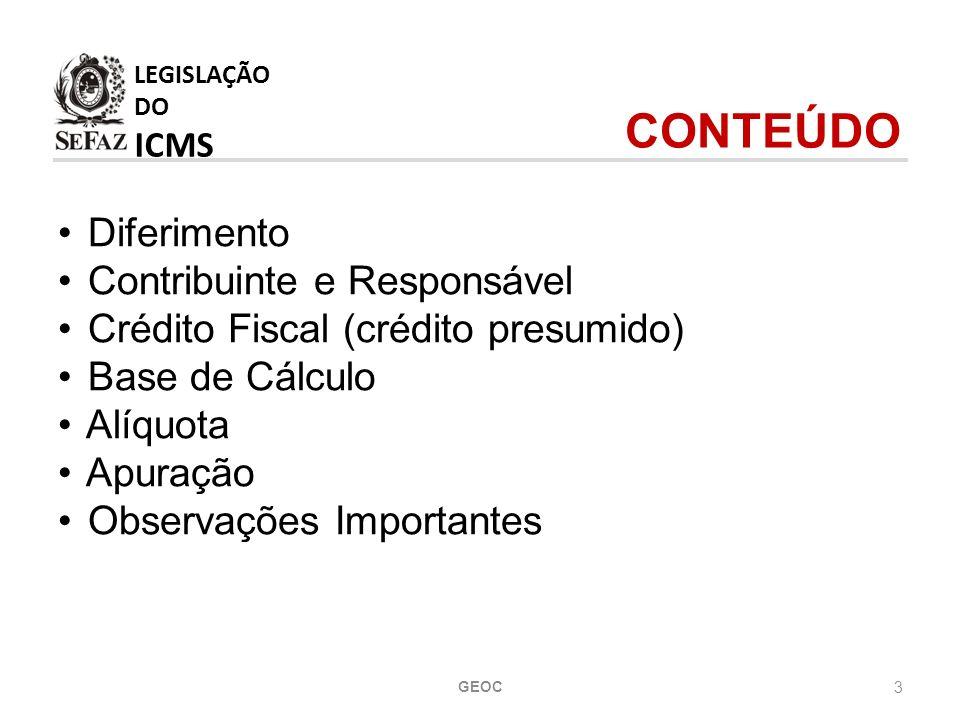 LEGISLAÇÃO DO ICMS CONTEÚDO Diferimento Contribuinte e Responsável