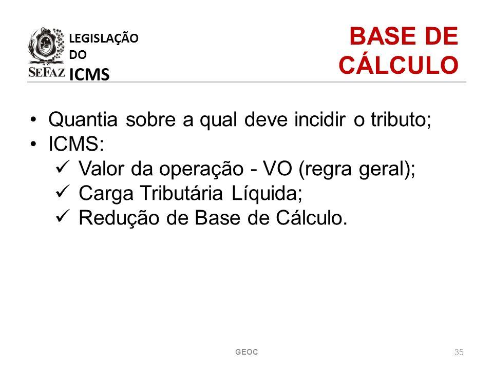 LEGISLAÇÃO DO ICMS BASE DE CÁLCULO