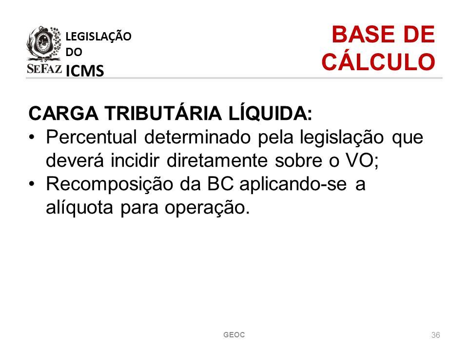 LEGISLAÇÃO DO ICMS BASE DE CÁLCULO CARGA TRIBUTÁRIA LÍQUIDA: