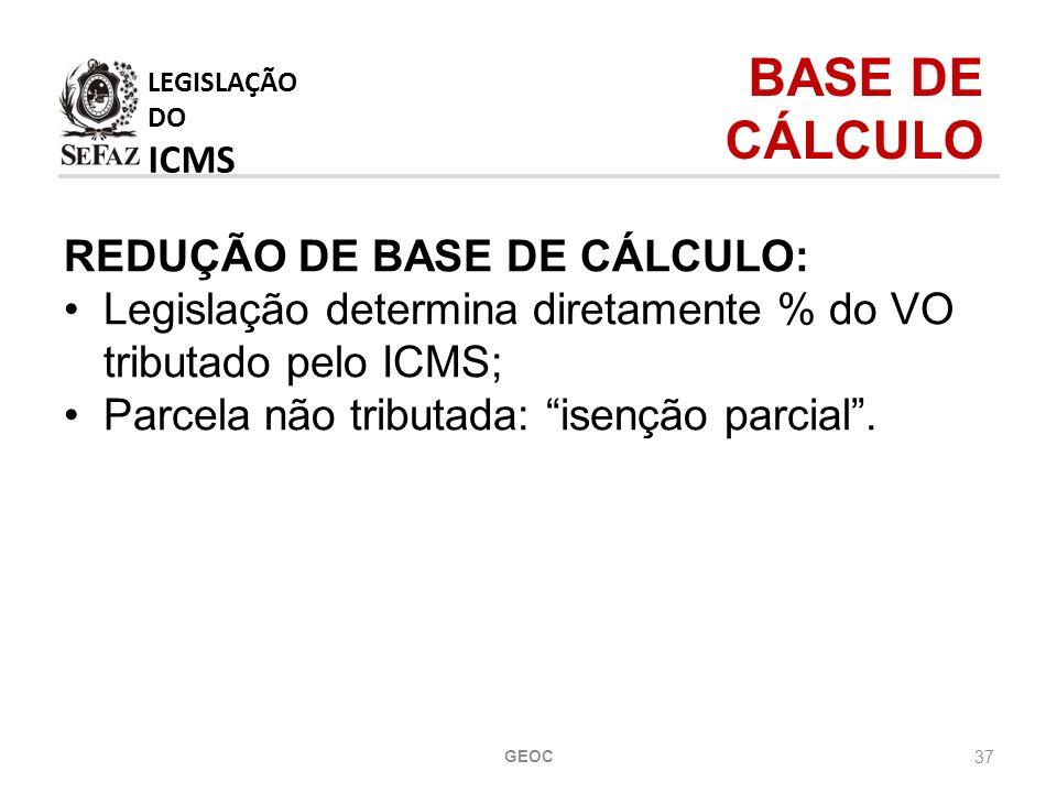 LEGISLAÇÃO DO ICMS BASE DE CÁLCULO REDUÇÃO DE BASE DE CÁLCULO: