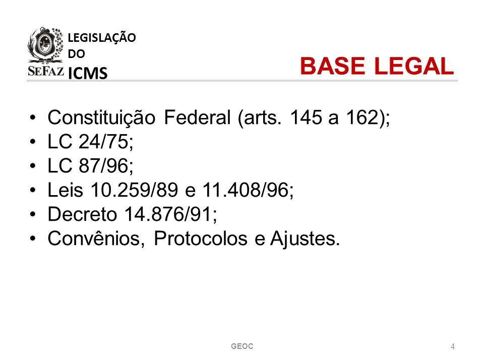 LEGISLAÇÃO DO ICMS BASE LEGAL Constituição Federal (arts. 145 a 162);