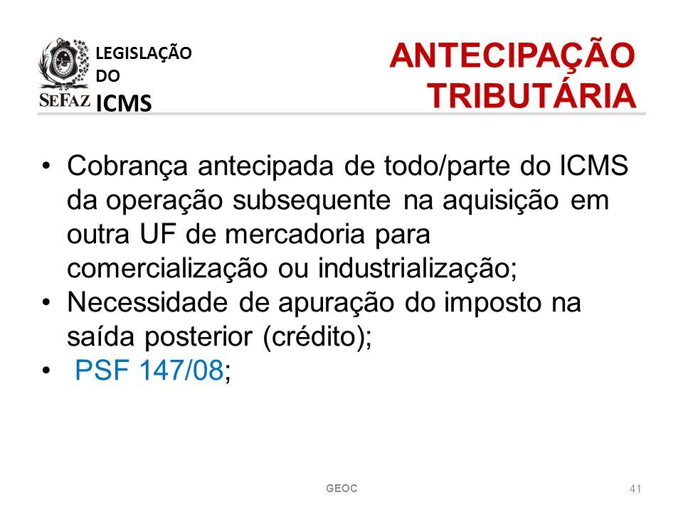 ANTECIPAÇÃO TRIBUTÁRIA LEGISLAÇÃO DO ICMS