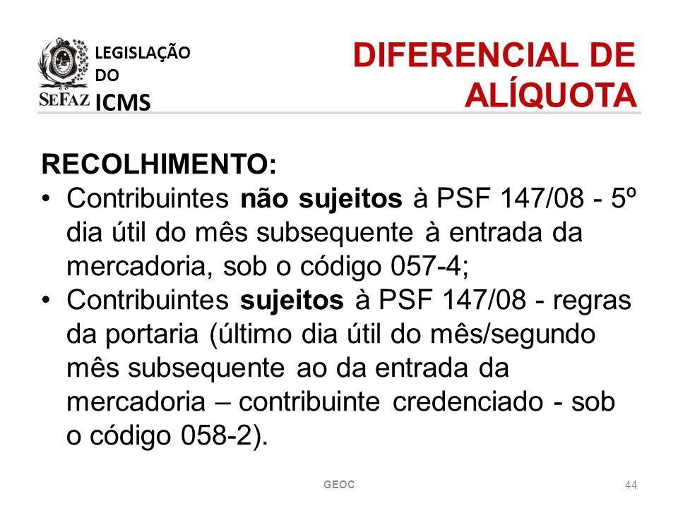 DIFERENCIAL DE ALÍQUOTA LEGISLAÇÃO DO ICMS