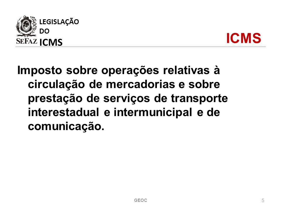 LEGISLAÇÃO DO ICMS ICMS