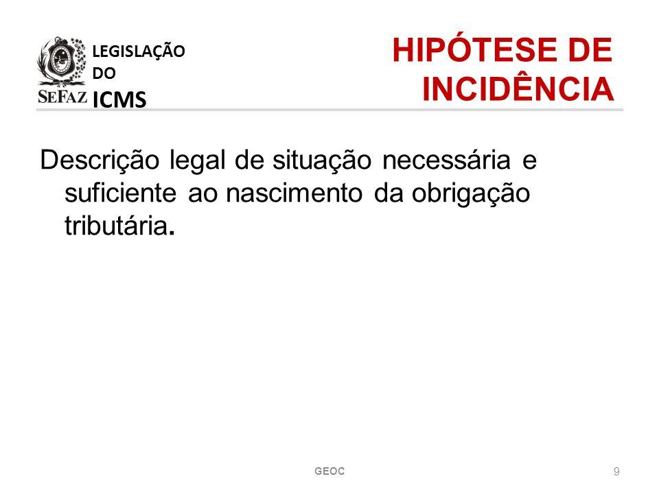 LEGISLAÇÃO DO ICMS HIPÓTESE DE INCIDÊNCIA