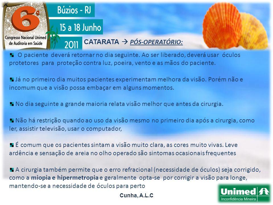 CATARATA  PÓS-OPERATÓRIO: