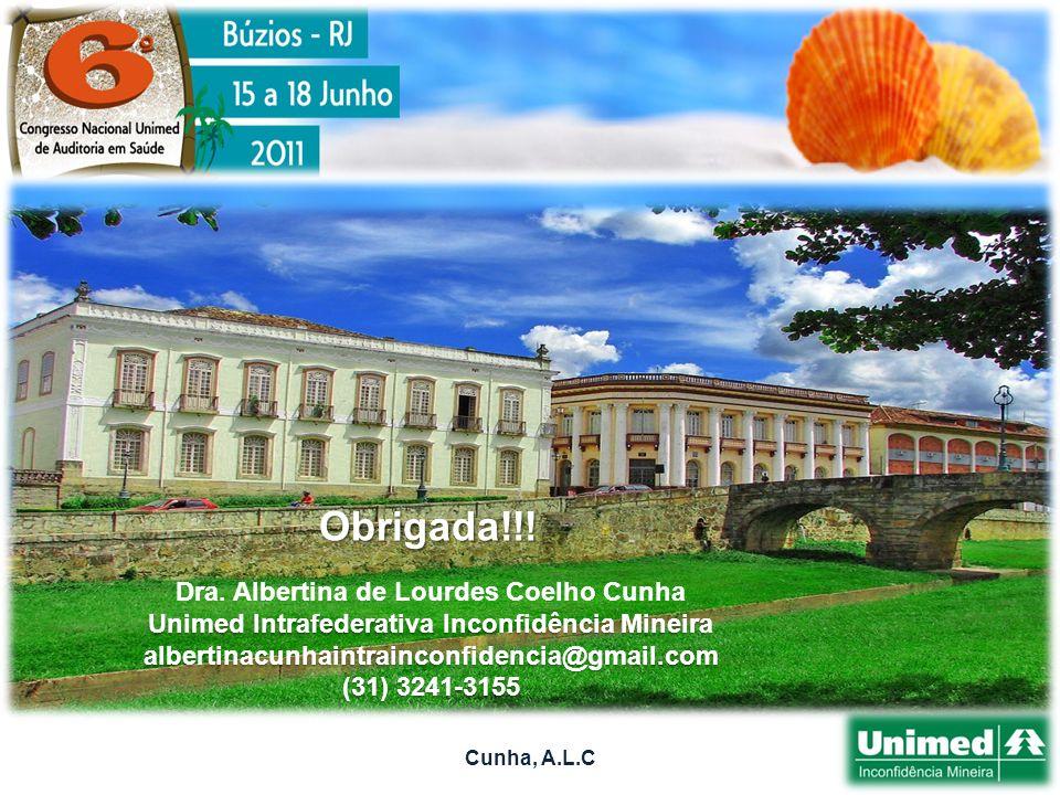 Obrigada!!! Dra. Albertina de Lourdes Coelho Cunha