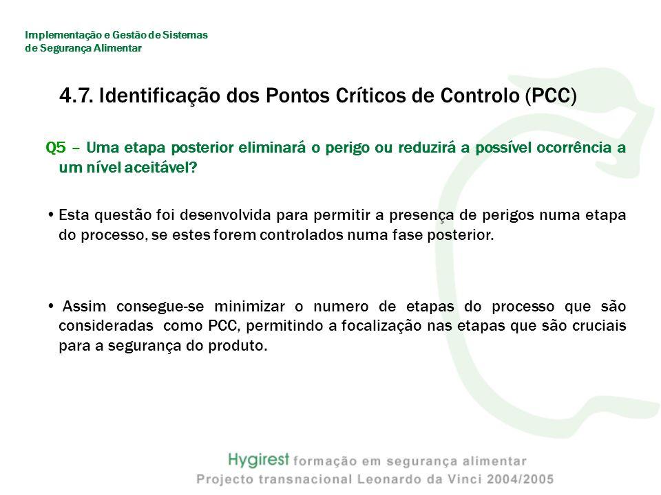 4.7. Identificação dos Pontos Críticos de Controlo (PCC)