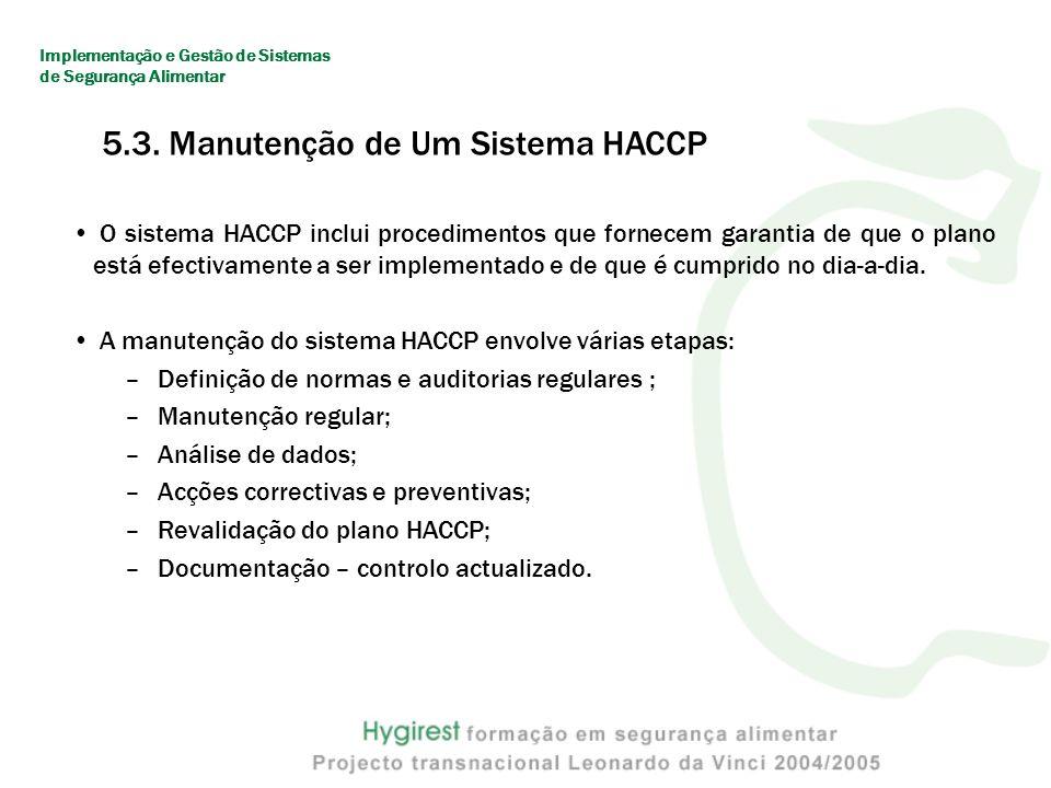 5.3. Manutenção de Um Sistema HACCP
