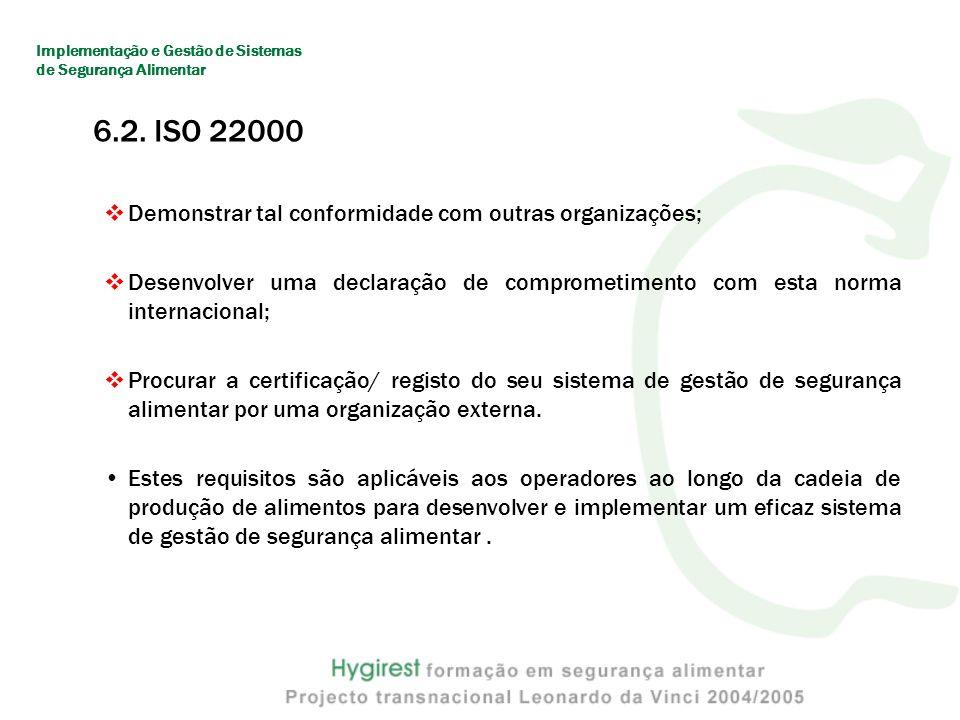 6.2. ISO 22000 Demonstrar tal conformidade com outras organizações;