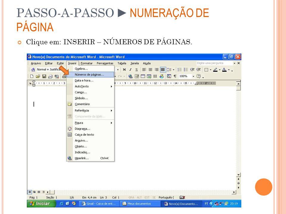 PASSO-A-PASSO ►NUMERAÇÃO DE PÁGINA