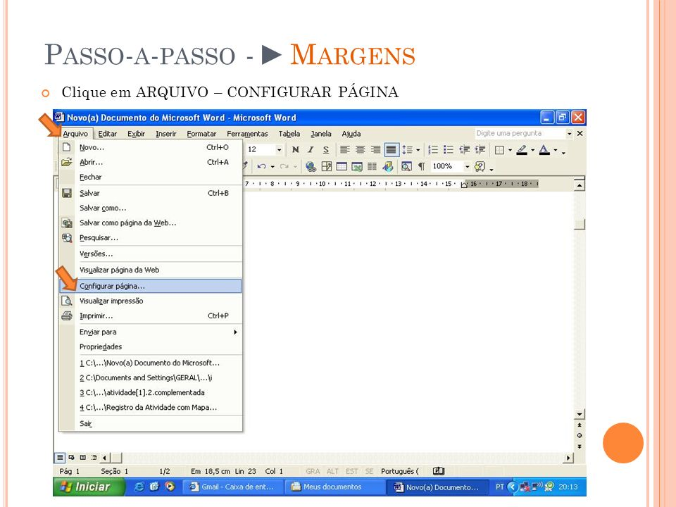 Passo-a-passo - ►Margens