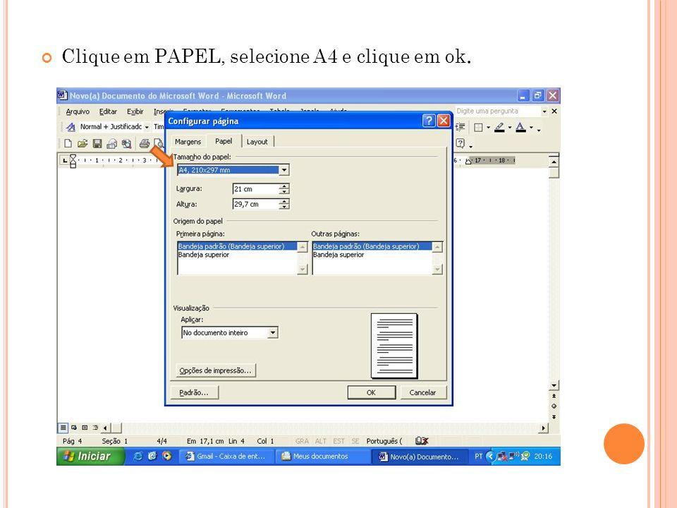Clique em PAPEL, selecione A4 e clique em ok.