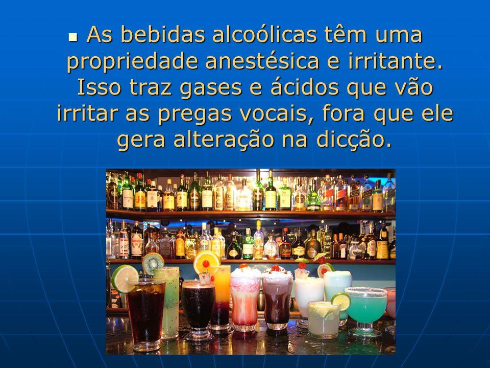 As bebidas alcoólicas têm uma propriedade anestésica e irritante