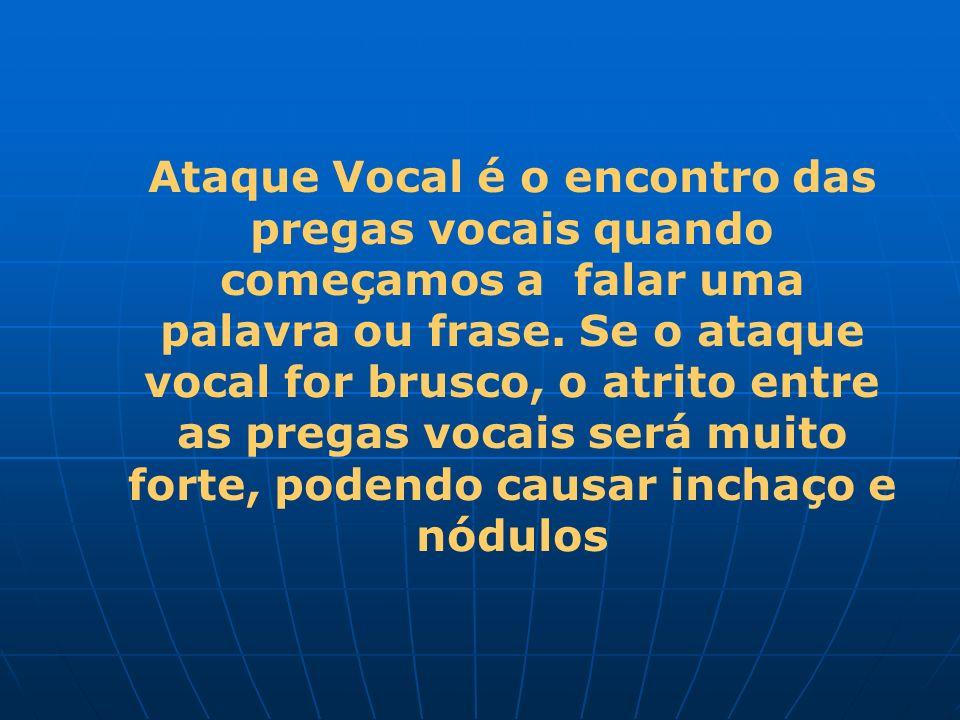 Ataque Vocal é o encontro das pregas vocais quando começamos a falar uma palavra ou frase.