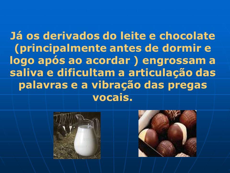 Já os derivados do leite e chocolate (principalmente antes de dormir e logo após ao acordar ) engrossam a saliva e dificultam a articulação das palavras e a vibração das pregas vocais.