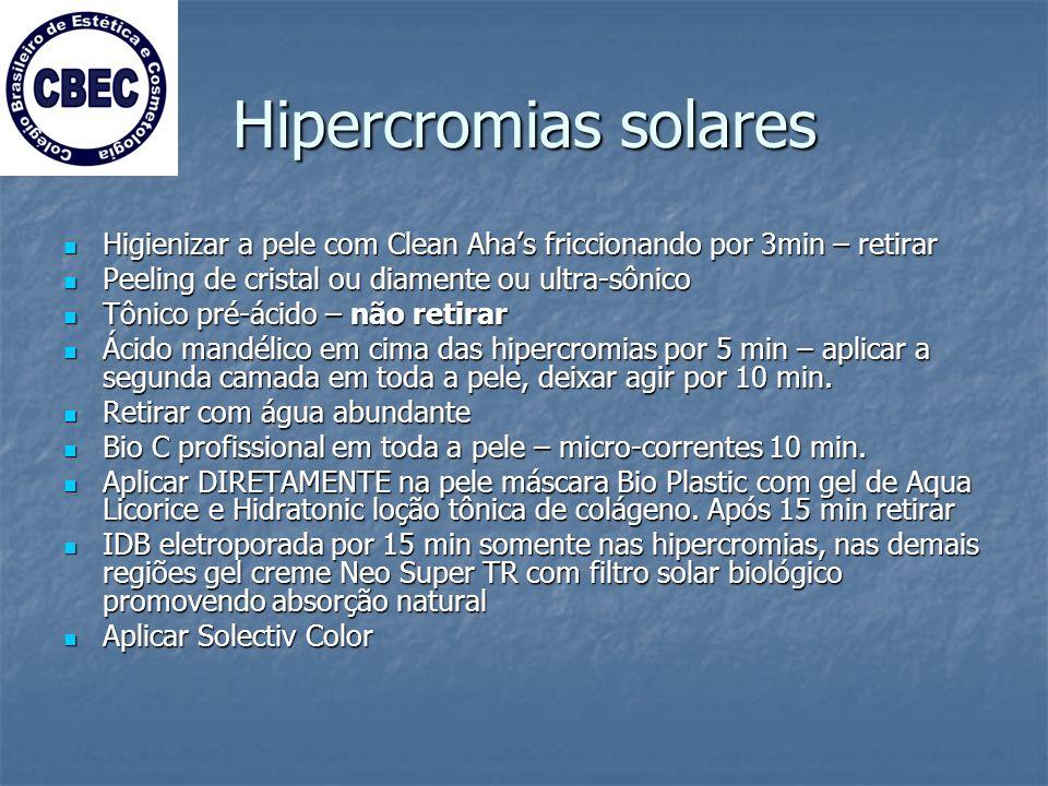 Hipercromias solares Higienizar a pele com Clean Aha's friccionando por 3min – retirar. Peeling de cristal ou diamente ou ultra-sônico.