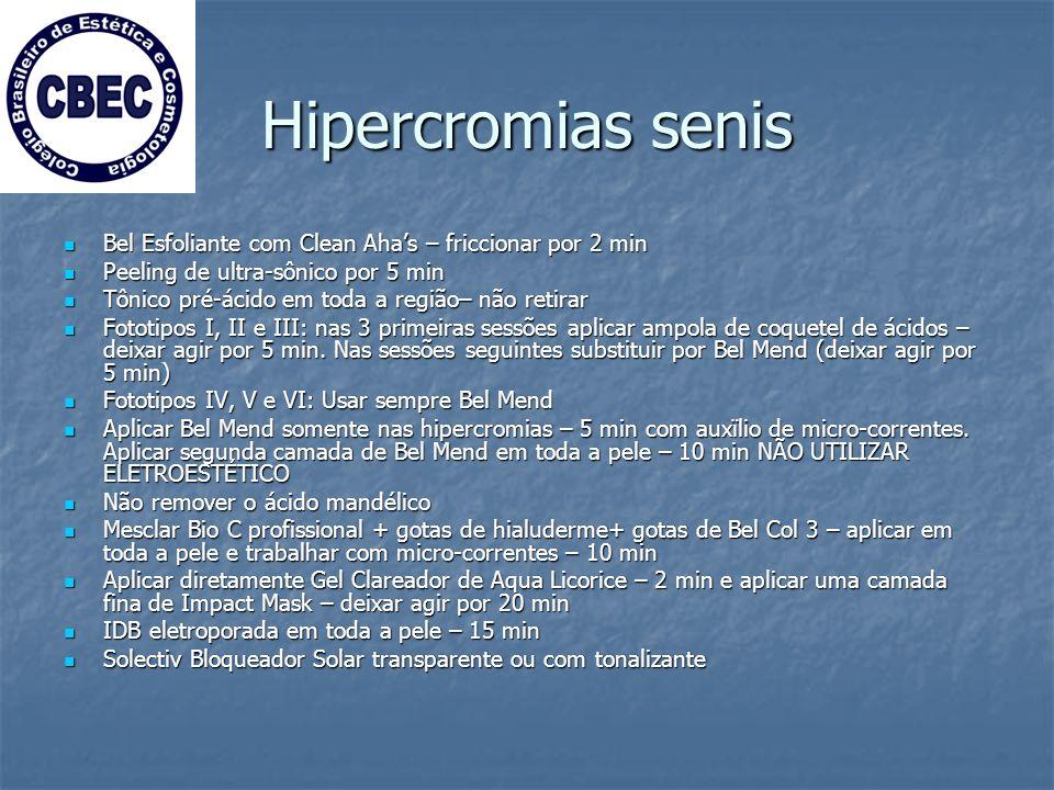 Hipercromias senis Bel Esfoliante com Clean Aha's – friccionar por 2 min. Peeling de ultra-sônico por 5 min.