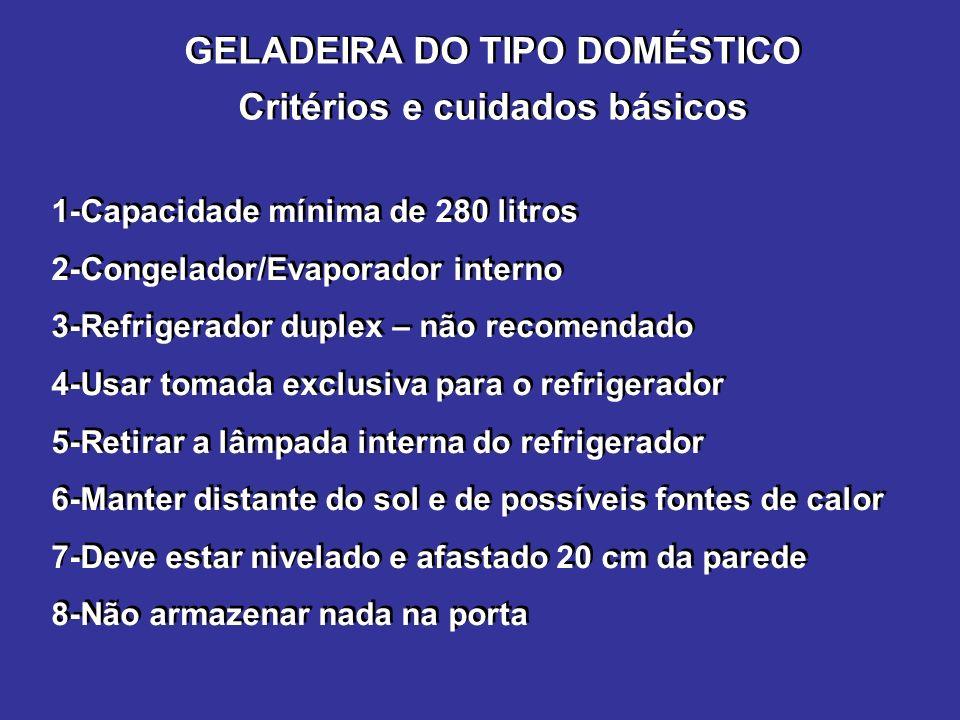 GELADEIRA DO TIPO DOMÉSTICO Critérios e cuidados básicos