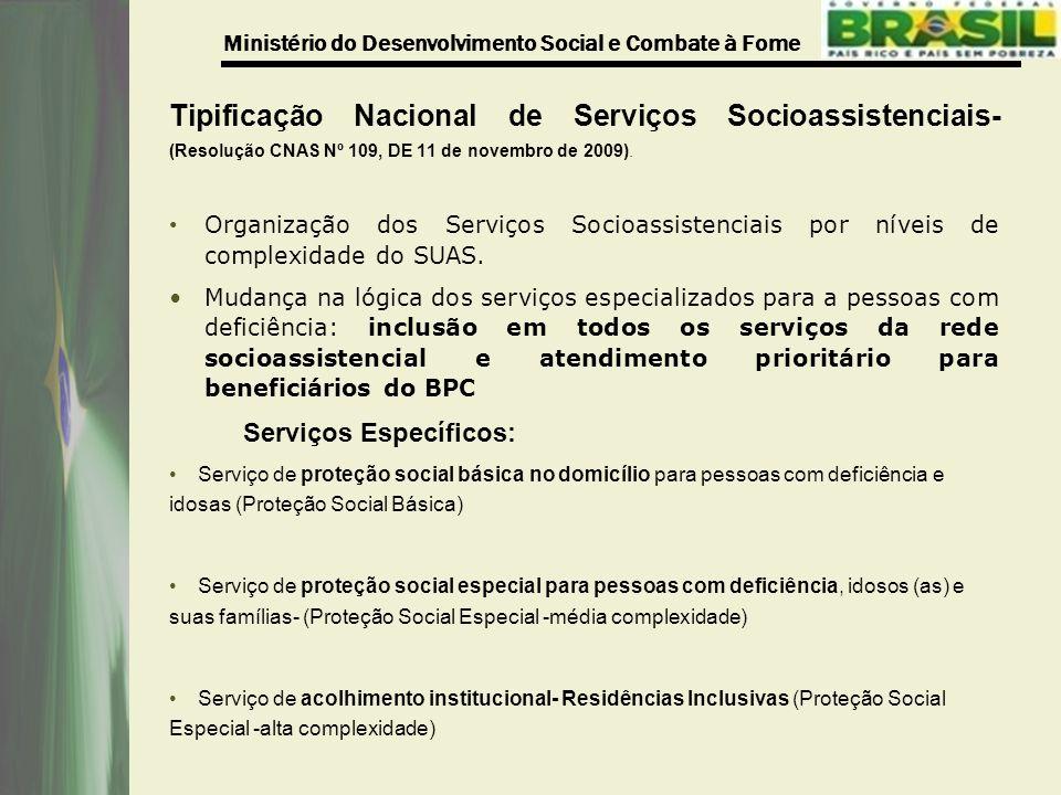 Tipificação Nacional de Serviços Socioassistenciais- (Resolução CNAS Nº 109, DE 11 de novembro de 2009).