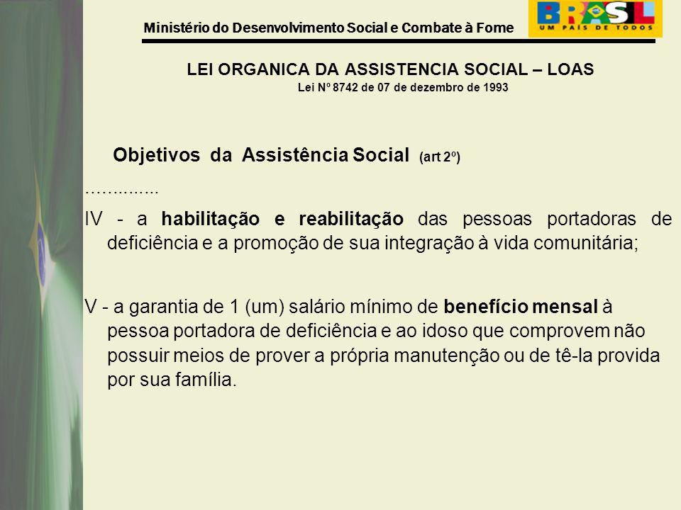 LEI ORGANICA DA ASSISTENCIA SOCIAL – LOAS Lei Nº 8742 de 07 de dezembro de 1993