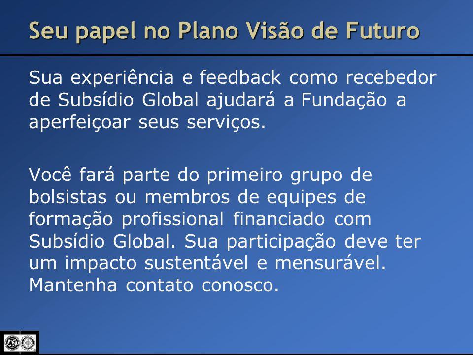 Seu papel no Plano Visão de Futuro