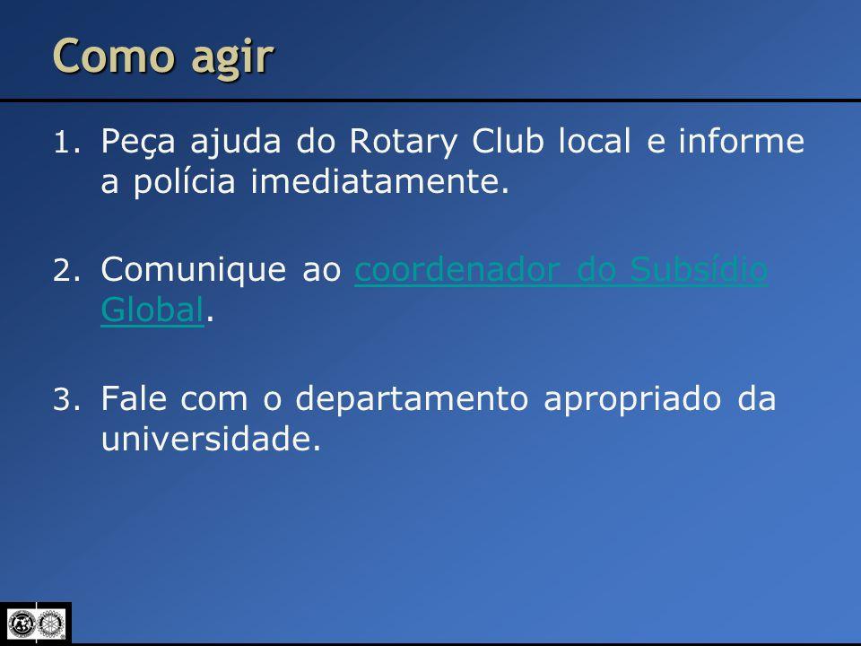Como agir Peça ajuda do Rotary Club local e informe a polícia imediatamente. Comunique ao coordenador do Subsídio Global.