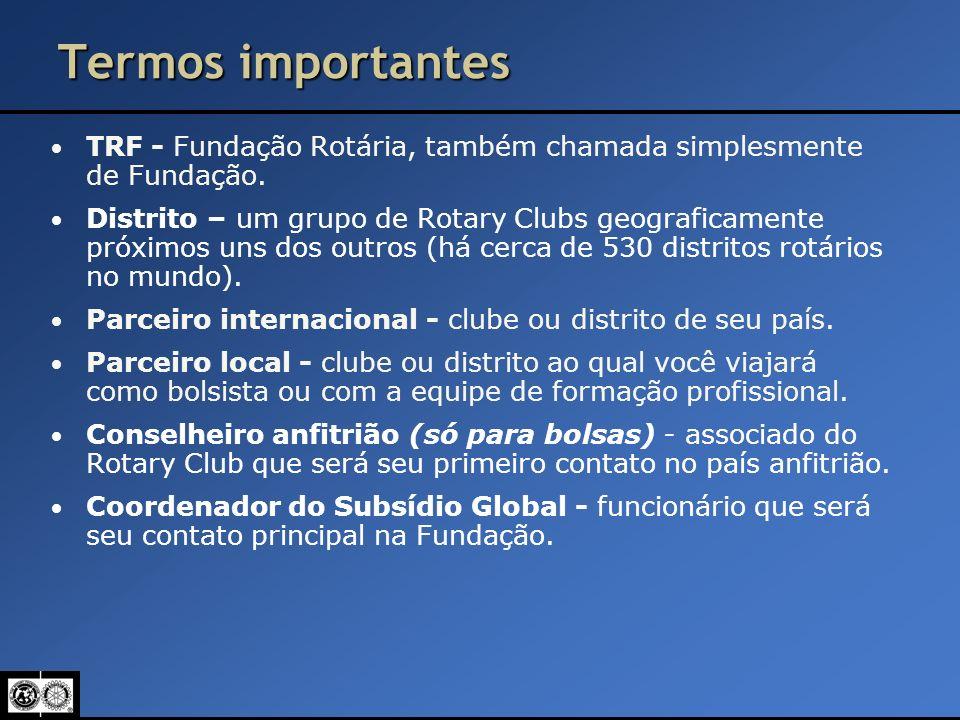 Termos importantes TRF - Fundação Rotária, também chamada simplesmente de Fundação.