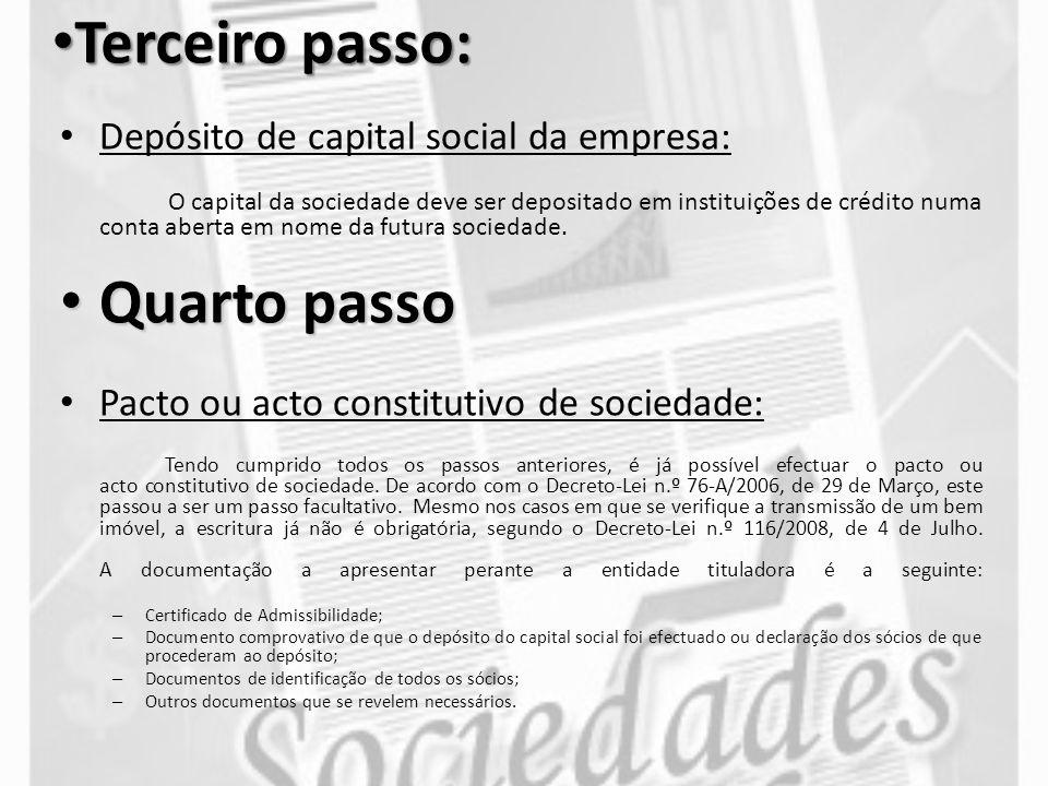 Terceiro passo: Quarto passo Depósito de capital social da empresa: