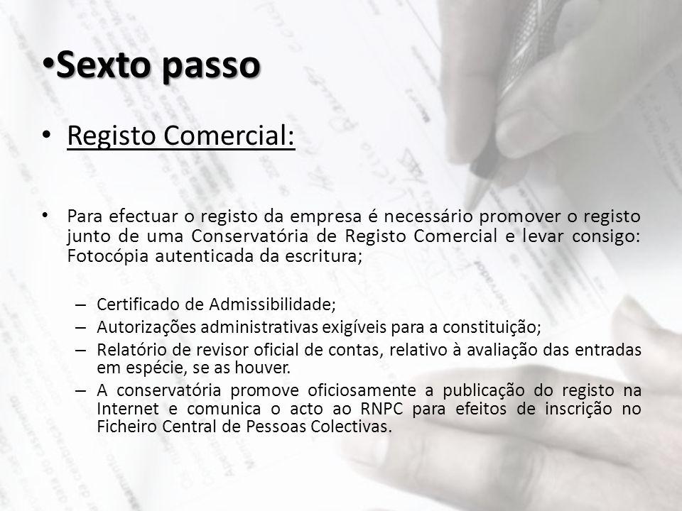 Sexto passo Registo Comercial: