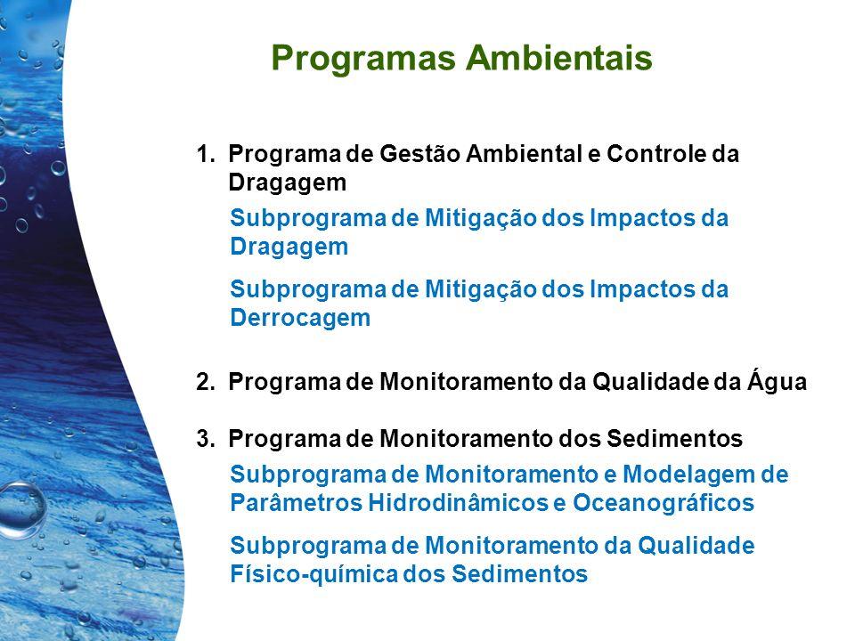 Programas Ambientais Programa de Gestão Ambiental e Controle da Dragagem. Subprograma de Mitigação dos Impactos da Dragagem.