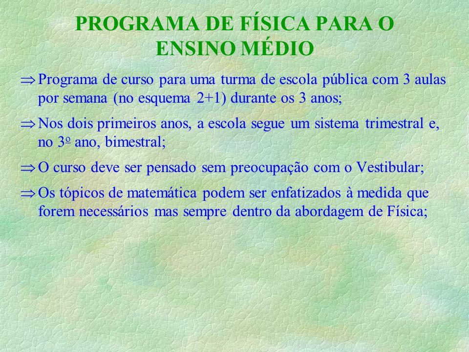 PROGRAMA DE FÍSICA PARA O ENSINO MÉDIO